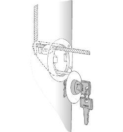 Låsebeslag til nøgle i flagstang 269 x 250 px